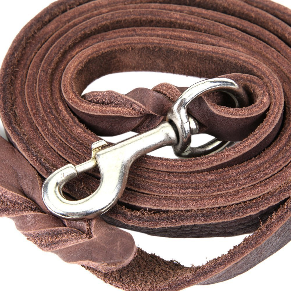 Dogs Kingdom Genuine Leather Braided Brown Dog Leash 4Ft/5Ft/7Ft/8.5Ft Best Lead For Large and Medium Dogs Training Walking Brown/Silver Hook 5/7''7ft by Dogs Kingdom (Image #2)