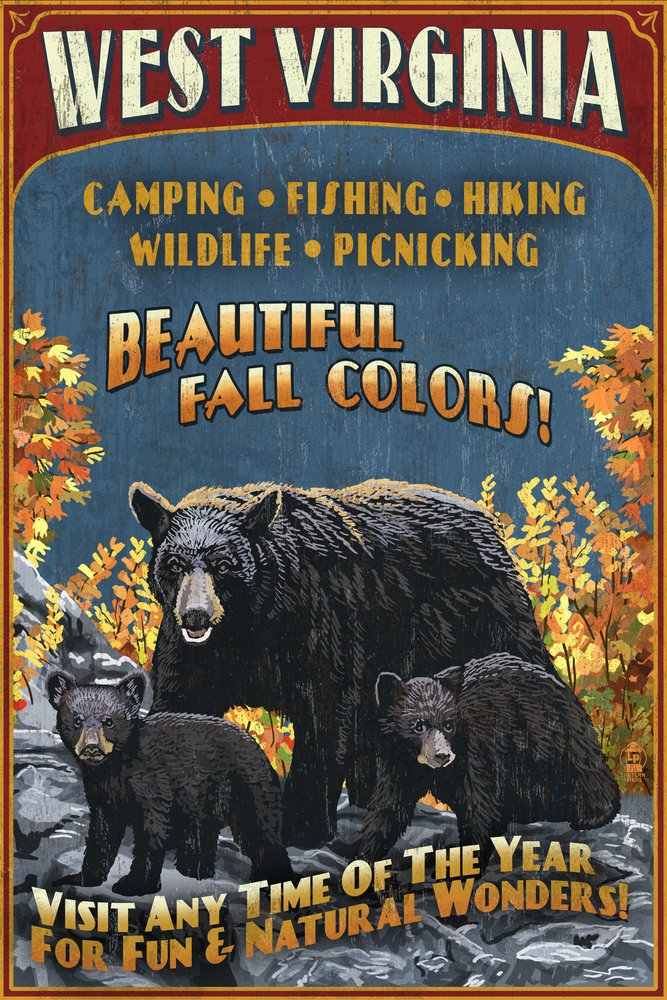 West Virginia – Black Bear Family Vintage Sign 16 x 24 Giclee Print LANT-41027-16x24 B00N5CFSSE 16 x 24 Giclee Print16 x 24 Giclee Print