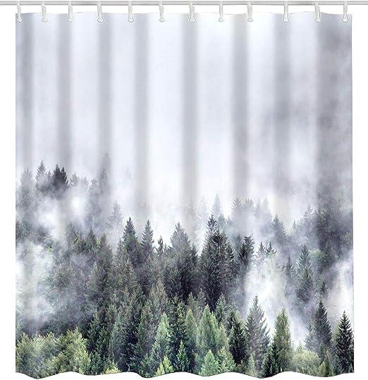 "72x72/"" Waterproof Fabric Shower Curtain Set Autumn Park Magic Light and Walkway"