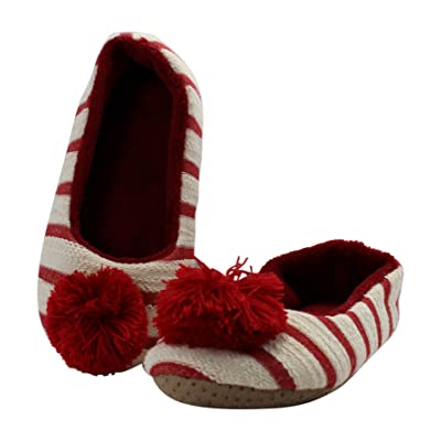 Midwest CBK Woman's Red Striped Slipper With Poms
