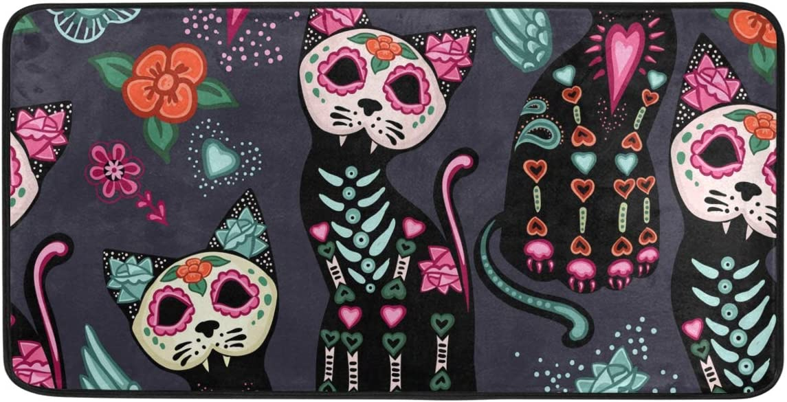MOFEIYUE Day of The Dead Skull Cat Kitchen Rug Mat Non Slip Anti Fatigue Standing Mat Runner Rug Washable for Kitchen Bathroom, 50x99 cm
