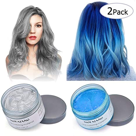 Cheveux gris bleu