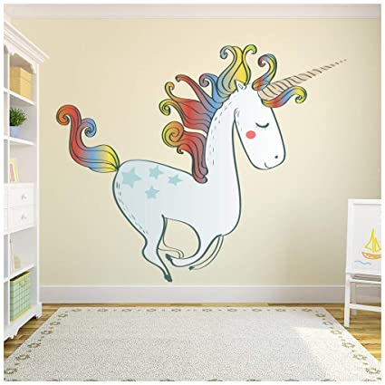 Azutura Rainbow Unicorn Wall Sticker Fairytale Wall Decal Girls Bedroom Home Decor Available In 8 Sizes Medium Digital