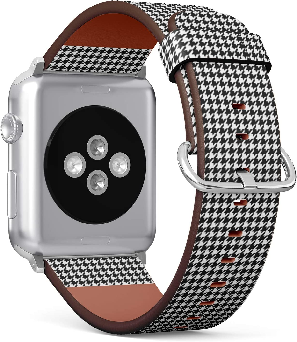 [ Compatible Big Apple Watch 42/44 mm ] Replacement Leather Band Bracelet Strap Wristband Accessory // Houndstooth Pattern