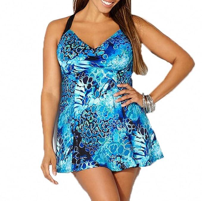 33d40bba5d Ytwysj Women Sexy One Piece Swimwear,Snakeskin Print Daring V Neck Halter  Plus Size One Piece Bikinis Swimdress: Amazon.ca: Clothing & Accessories