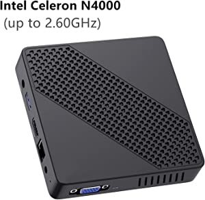 Mini PC Fanless Intel Celeron N4000 (up to 2.6GHz) 4GB DDR/64GB eMMC Mini Desktop Computer Windows 10 HDMI 2.0and VGA Port 2.4/5.8G WiFi BT4.2 3xUSB3.0 Support Linux,NGFF 2242 SSD Auto Power On