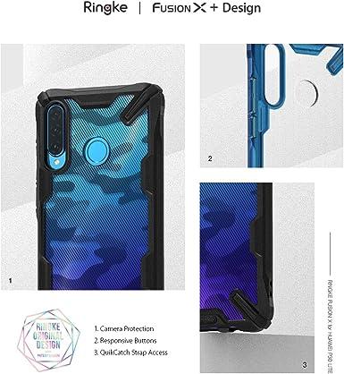 Ringke Fusion-X Compatible avec Huawei P30 Lite Coque, Bumper Cover pour Huawei P30 Lite, Huawei Nova 4e - Camo Noir