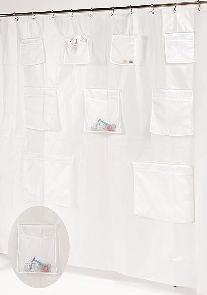 Splish Splash Heavy PEVA Non Toxic Shower Curtain Liner With 9 Mesh Pockets  For Organization