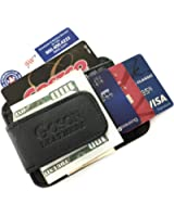 Goson Men's Leather Front Pocket Card Holder Wallet with Magnetic Money Clip