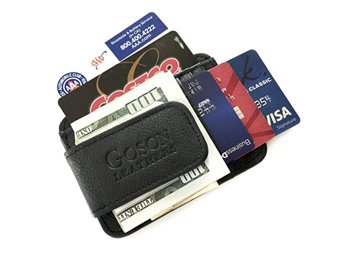 2da0f16ddb18 Image Unavailable. Image not available for. Color  Goson Slim Wallet  Leather Money Clip ...