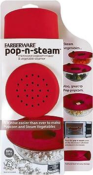 "FARBERWARE Pro Pop-N-Steam Popcorn Maker and Veggie Steamer 10/"" Green"