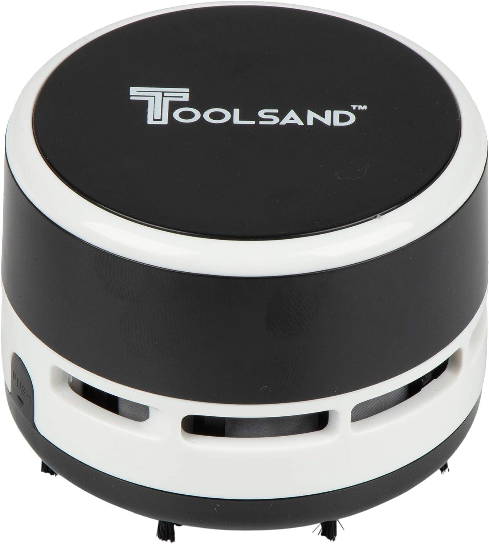 Mini Desktop Portable Handheld Cordless Tabletop Crumb Sweeper Vacuum Cleaner Battery Operated (Black/White)