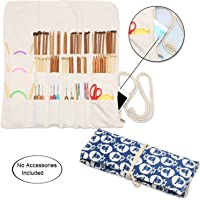 Teamoy Knitting Needles Holder Case(up to 14 inches), Cotton Canvas Rolling Organizer for Straight and Circular Knitting Needles, Crochet Hooks and Accessories, Sheep -No Accessories Included