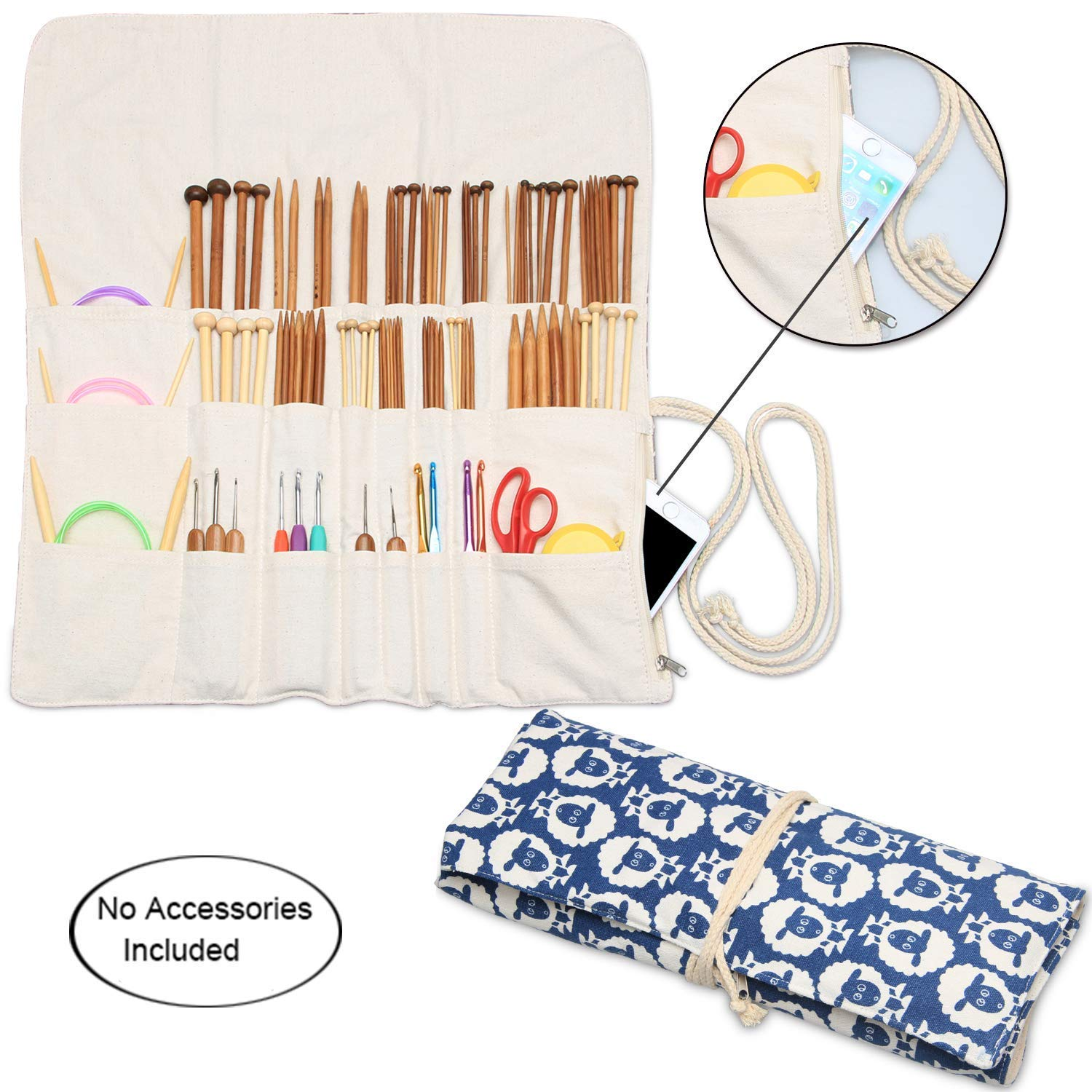 Teamoy Knitting Needles Holder Case(up to 14 Inches), Cotton Canvas Rolling Organizer for Straight and Circular Knitting Needles, Crochet Hooks and Accessories, Sheep - NO Accessories Included