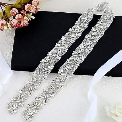 XINFANGXIU Crystal Rhinestone Sash Belt Sewn Hot Fix Applique Trim 1 Yard Bridal  Wedding Applique Beaded 150affa4d478