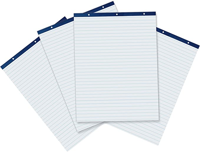 50 Sheets 34 x 27 in Fоur Paсk School Smart Unruled Easel Pads Pack of 4 White