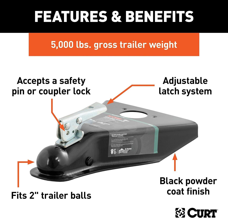 Accepts 2-Inch Trailer Hitch Ball 5,000 lbs CURT 25210 A-Frame Trailer Coupler GTW