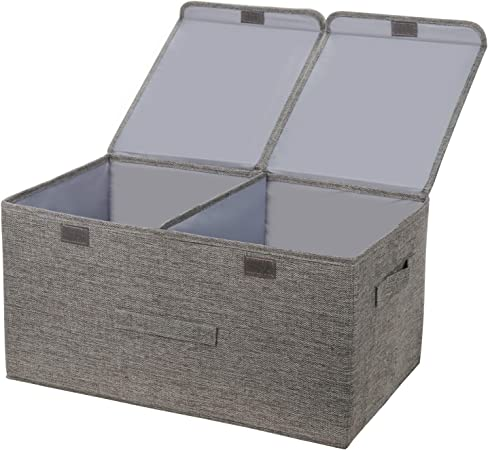 Leehui Store - Cajas de almacenamiento grandes con tapas, plegable, de tela, con asas, 60 L, para ropa, juguetes, libros, ropa de cama o más: Amazon.es: Hogar