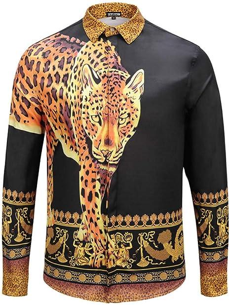 CHENS Camisa/Casual/Unisex/M Ropa Camisa Negra para Hombres Dinero Impreso Leopardo Corona Personajes Occidentales Moda Discoteca Juventud Occidental Ocio: Amazon.es: Deportes y aire libre