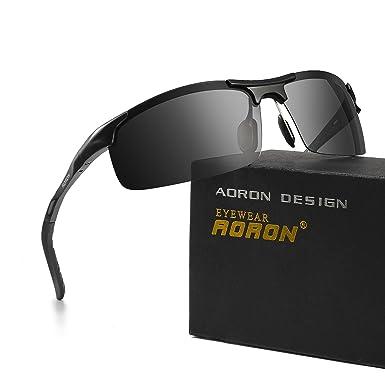 bd6182a492 Sports Sunglasses AORON Polarized Sunglasses Men Metal Frame UV 400 for  Driving