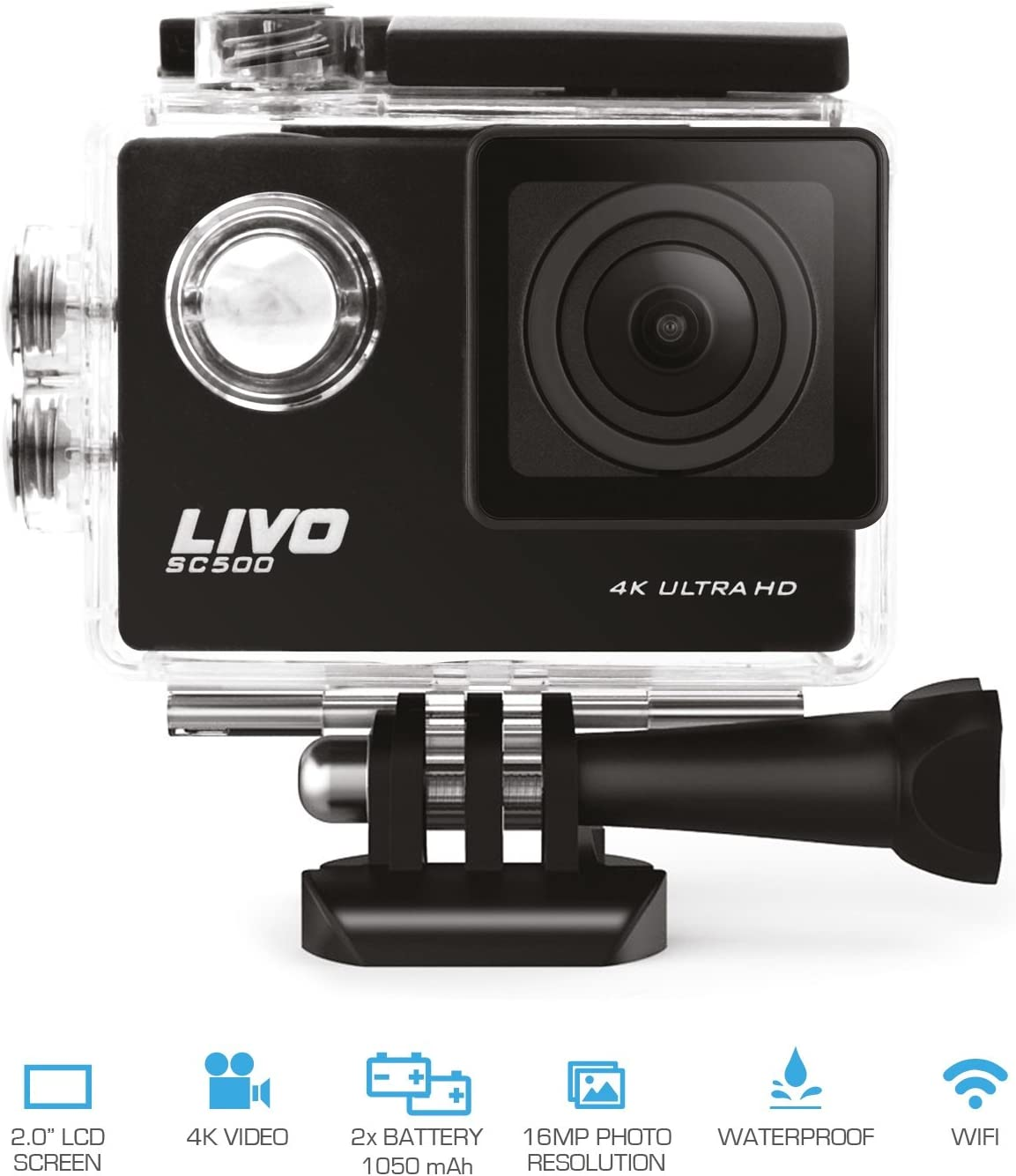 LIVO 4K Action Camera with WiFi, 16MP Wide Angle Lens, Sony Image Sensor, 2 Batteries and Accessories