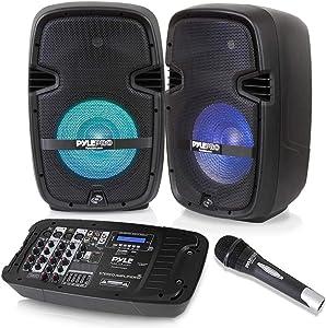 PA Speaker DJ Mixer Bundle - Portable Wireless Bluetooth Sound System w/ USB SD XLR 1/4