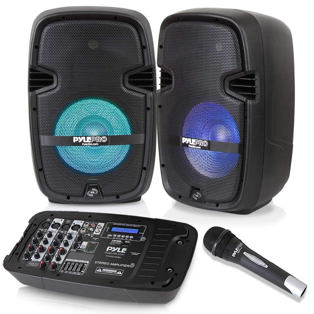 PA Speaker DJ Mixer Bundle - Portable Wireless Bluetooth Sound System with USB SD  XLR 1/4'' RCA Inputs, LED Lights - Dual Speaker, Mixer, Microphone, Stand, Cable - Home / Outdoor - Pyle PPHP210AMX
