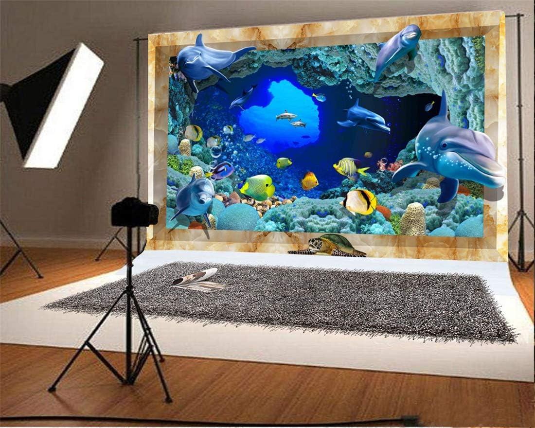 Yeele 10x8ft Dolphin Photography Background Underwater Seabed Aquarium Oceanarium Sunshine Tropical Fish Sea Turtle Coral Bubble Seaweed Photo Backdrops Portrait Shooting Studio Props Wallpaper