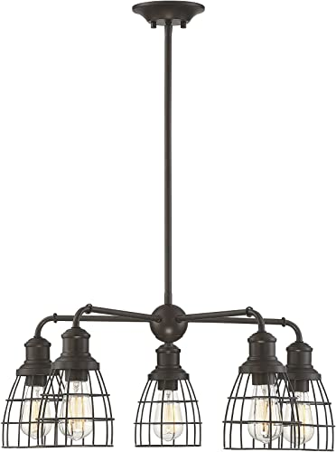 Trade Winds Lighting TW10053ORB 5 Light Vintage Industrial Hanging Cage Pendant Chandelier