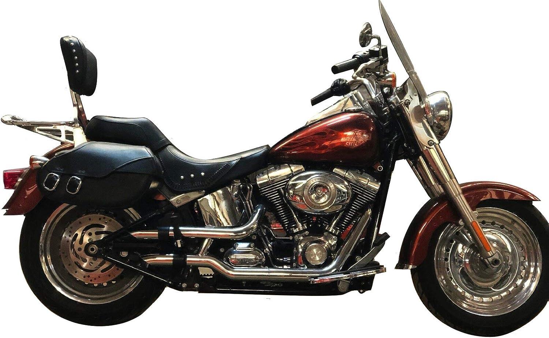 Radiant Cycles Shorty GP Exhaust Motorcycle Slipon 2007-2017 Harley Davidson Fat Boy Fatboy FLSTF Chrome