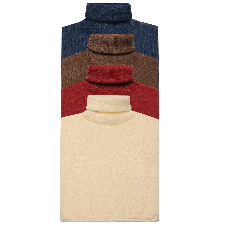 Unisex Turtleneck Dickies - 4 Pack of Mock Turtlenecks - Navy/Brown/Burgundy/Cream