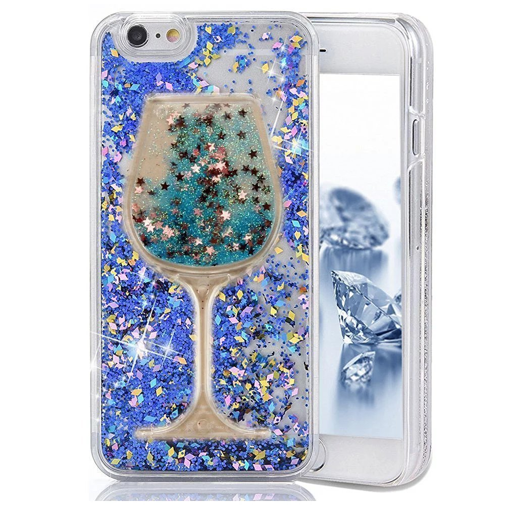 Glitter Bling Hearts Flowing Liquid Heart Clear Hard Case for iPhone 8 Plus Diamond Blue