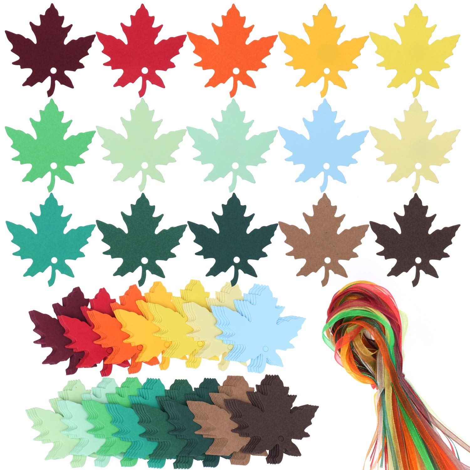 SUBANG 150 Pcs 15 Colors Maple Leaves Gift Tags Sign with Strings Tags Escort Cards Wishing Tree Tags Name Place Cards Hanging Sign Tags Leaves Paper Cutouts with Holes for Fall Wedding Party Festival SOTOGO