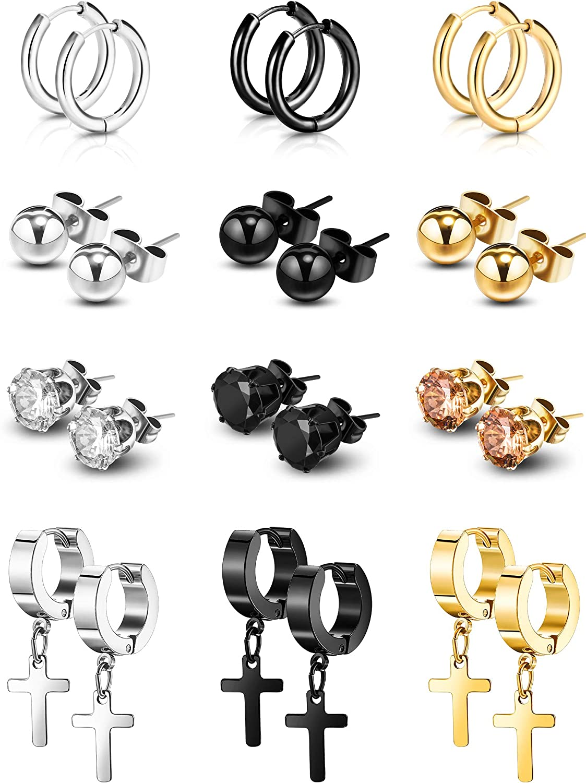 12 Pairs Hinged Stud Earrings Men Women Cross Dangle Zirconia Stainless Earring
