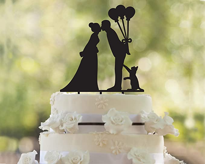 Amazon.com: Cat Cake Topper, Silhouette, Wedding Cake Topper, Gold ...