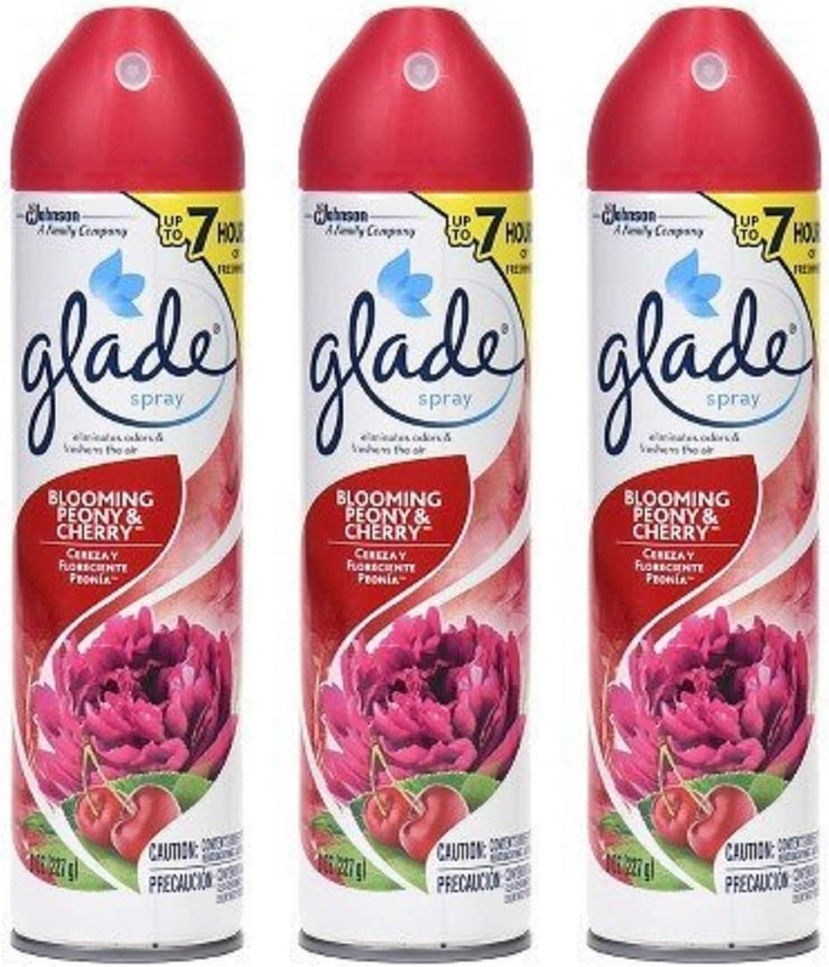 Glade Air Freshener Spray - Blooming Peony & Cherry - Net Wt. 8 OZ (227 g) Per Can - Pack of 3 Cans