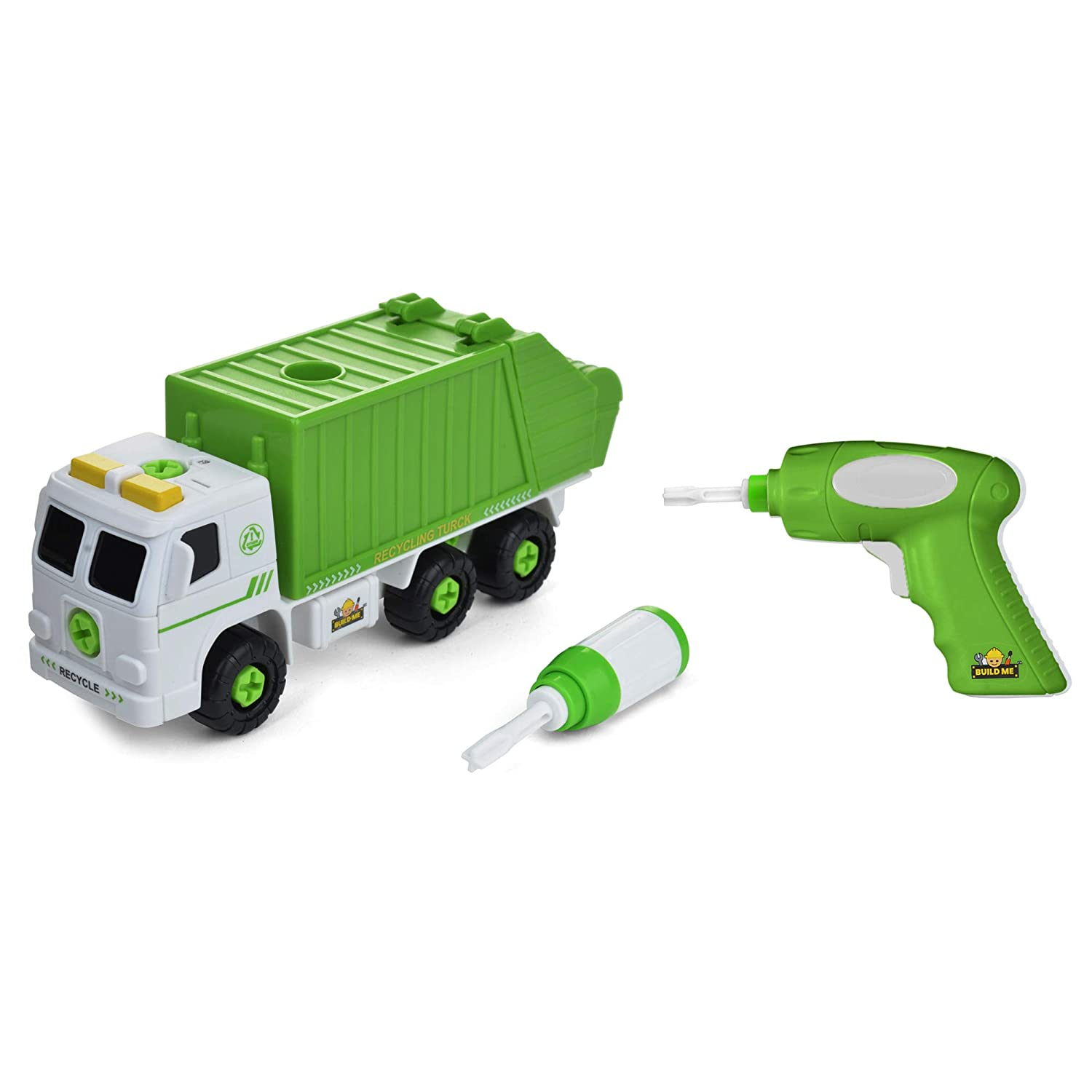 Take Apart Recycling Truck with Sounds, Power Drill – Build Your Own Garbage Truck with 30 Piece Set - Educational STEM Toys for Toddlers - Engineering Building Kit Ages 3-6