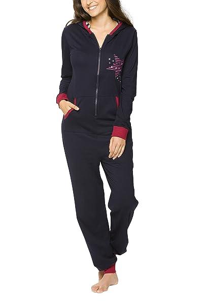 maluuna - Mono pijama de mujer con puños en las mangas y bajos fruncidos, Color