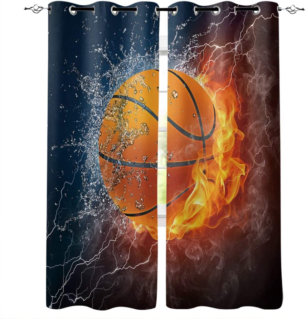 wanxinfu 2 Panel Kitchen Cafe Curtains, Water Fire Basketball Lightning | Sunlight Nature Air Through, Home Decor Window Covering Curtains for Bedroom Living Room 80W x 84L inch