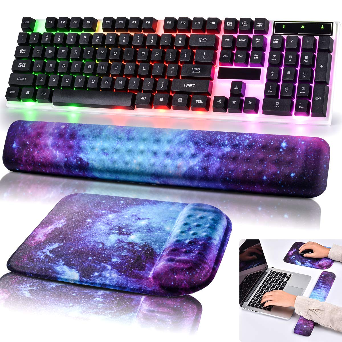 Mouse Pad Keyboard Wrist Rest Non slip Wrist Support Rest Mouse pad for Office,Computer, Laptop, Typist, Gamer, Compact Cushion Pad with Ergonomic Acupoint Massage Support (Starry Night)