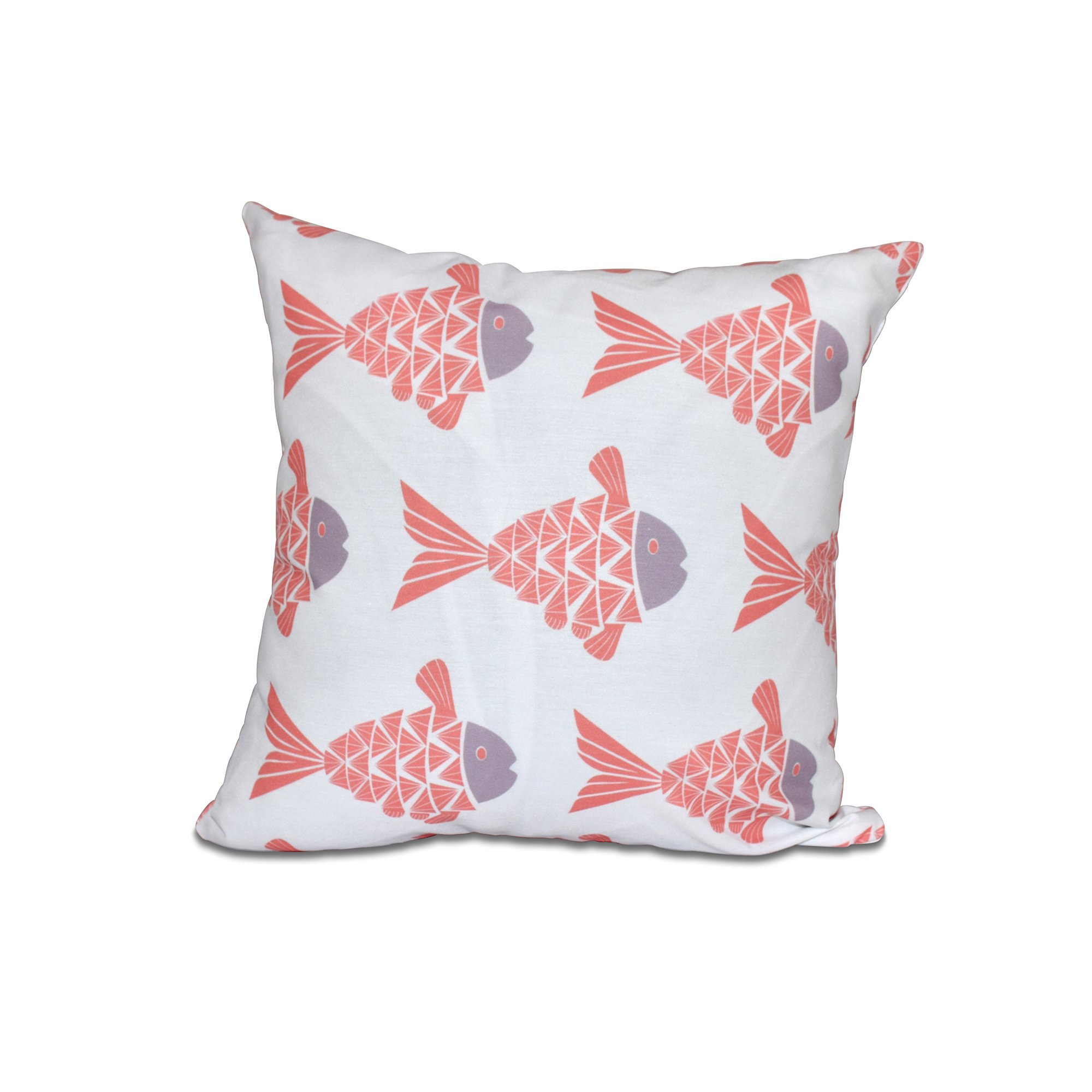 E by design 26 x 26 Fish Tales Animal Print Coral Pillow