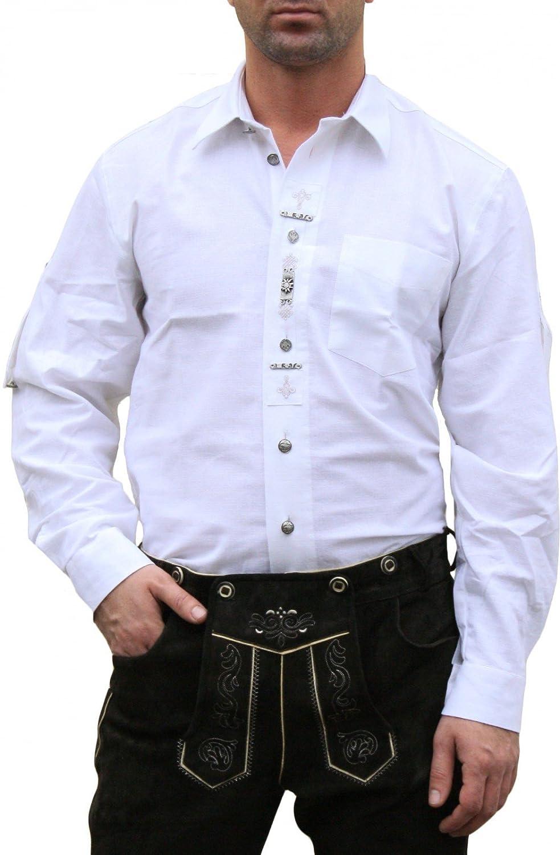Trachtenhemd hemd für Lederhosen mit Verzierung weiß
