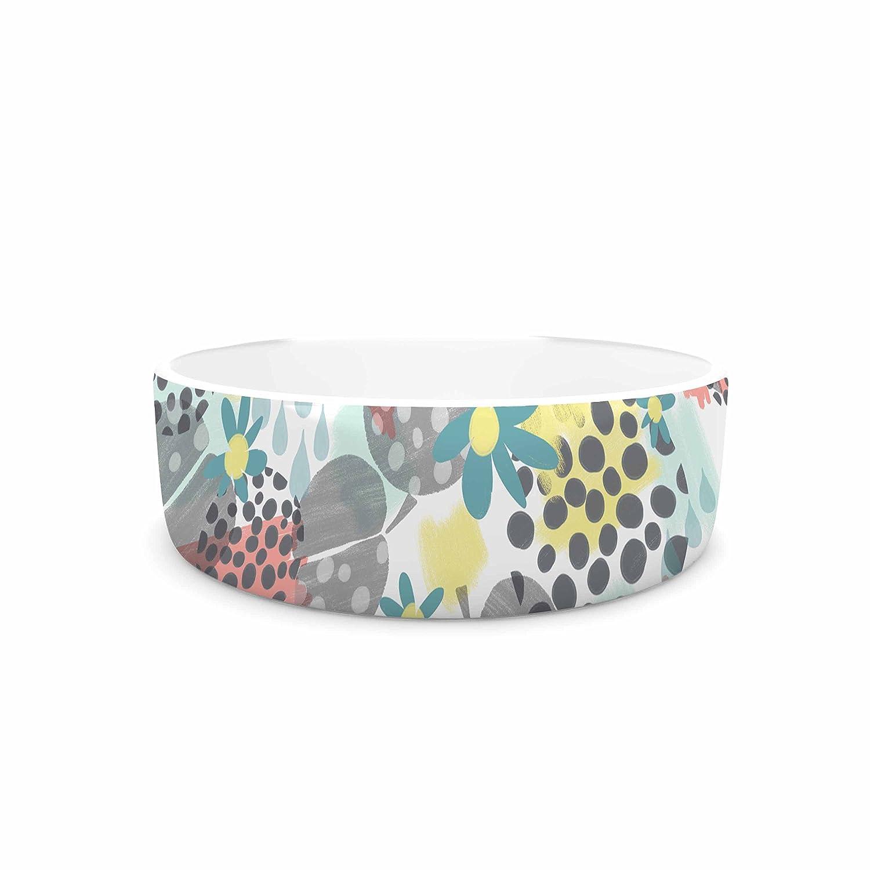 KESS InHouse Melissa Armstrong Apples, Drops & Blooms Multicolor Pink Digital Pet Bowl, 7