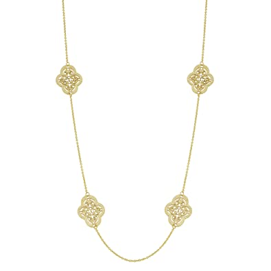 7169447bfe9f4 Amazon.com: Kooljewelry 14k Yellow Gold Filigree Clover Flower ...