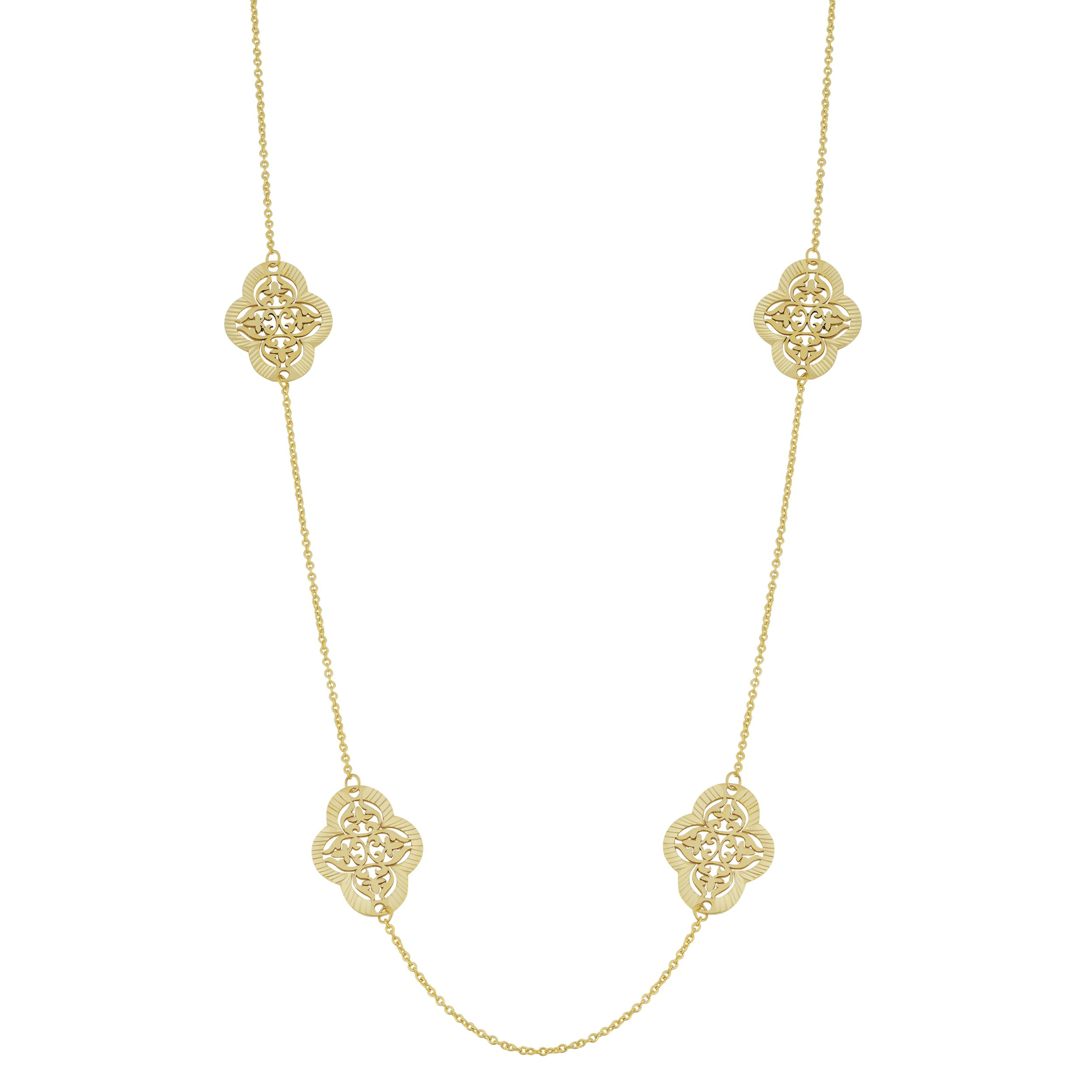 14k Yellow Gold Filigree Clover Flower Station Long Necklace (24 inch)