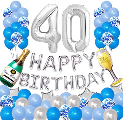 DSSY 40th Birthday Party Decorations Happy Birthday Banner Party Supplies Anniversary Banner for Women /& Men 40th Birthday Party