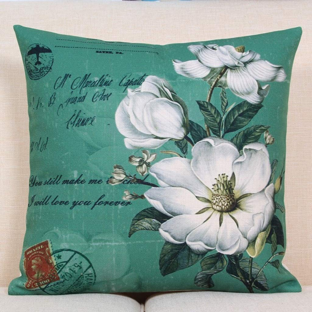 53cm53cm Sofa Pillow Cotton and Linen Decorative Cushion Pillow Office Pillow Pillow Lumbar Pillow Cushion Retro Flower Style with Pillow Core (45 × 45cm, 53 × 53cm) (Size   53cm53cm)