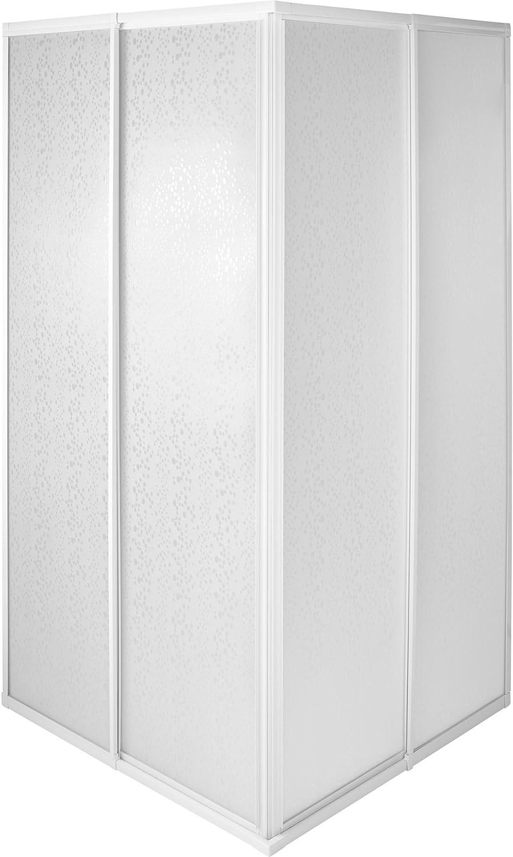 tectake 800522 Mampara de Ducha para Cabina | Marco de Aluminio Inoxidable | 2 Puertas Correderas de Plástico - varias Tamaños (80x80x185cm | No. 402752)