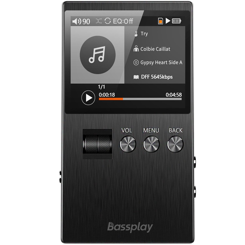 TALLA 16GB. Reproductor MP3 de Alta resolución, Reproductor de música Digital portátil Bassplay con Ranura para Tarjeta SD, Incluye Tarjeta de 16 GB de hasta 128 GB externos.