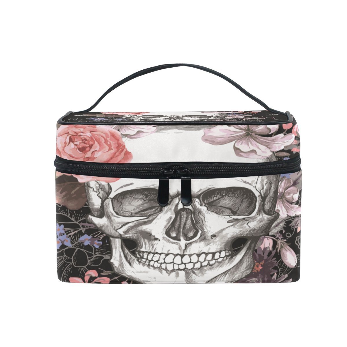 Makeup Bag Rose Skull Travel Cosmetic Bags Organizer Train Case Toiletry Make Up Pouch
